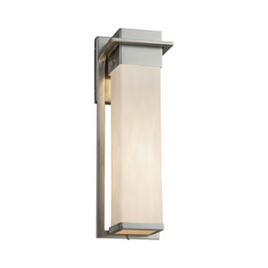 Clouds - Pacific Brushed Nickel LED Outdoor Wall Sconce with Off-White Clouds Resin