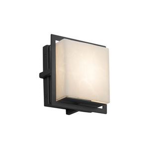 Clouds - Avalon Matte Black Seven-Inch LED Outdoor Wall Sconce with Off-White Clouds Resin