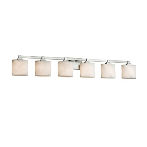 Clouds - Regency Brushed Nickel Six-Light LED Bath Vanity with Off-White Clouds Resin