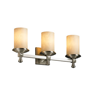 Clouds Deco Three-Light Brushed Nickel Bath Fixture
