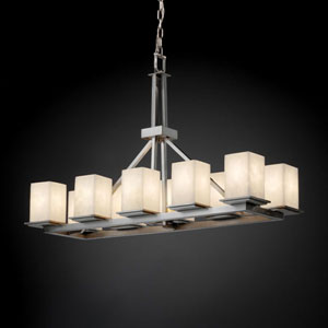 Clouds Montana 10-Light Brushed Nickel Rectangular Ring Chandelier