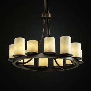 Clouds Dakota Twelve-Light Tall Ring Chandelier