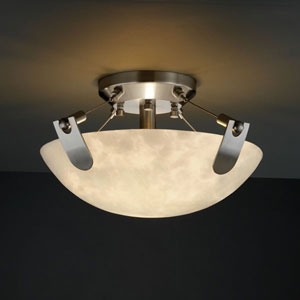 Clouds U-Clips 14-Inch Two-Light Brushed Nickel Semi-Flush Bowl With U-Clips