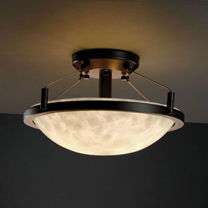 Clouds Ring 14-Inch Two-Light Dark Bronze Round 2000 Lumen LED Semi-Flush Mount With Ring