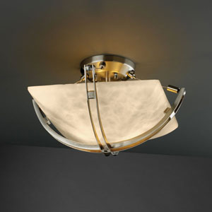 Clouds Crossbar CrossbarTwo-Light Brushed Nickel Semi-Flush Bowl With Crossbar