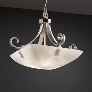 Clouds Scrolls with Finials 18-Inch Three-Light Brushed Nickel Pendant Bowl Scrolls With Finials