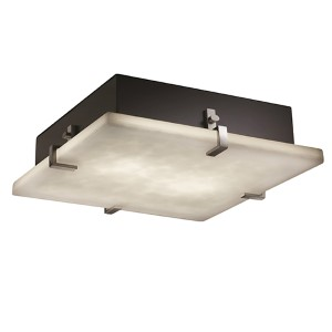 Clouds Brushed Nickel Six-Light 24-Inch Wide Fluorescent Square Clips Flush Mount