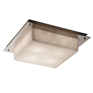 Clouds Brushed Nickel Four-Light 16-Inch Wide Fluorescent Square Framed Flush Mount