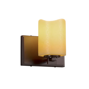 CandleAria - Era Dark Bronze One-Light Wall Sconce with Amber Faux Candle Resin