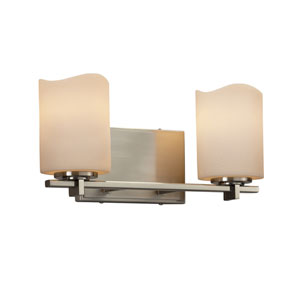 CandleAria - Era Brushed Nickel Two-Light Bath Vanity with Cream Faux Candle Resin