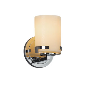 CandleAria - Atlas Polished Chrome One-Light Wall Sconce with Cream Faux Candle Resin