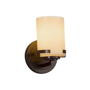 CandleAria - Atlas Dark Bronze One-Light Wall Sconce with Cream Faux Candle Resin