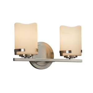 CandleAria - Atlas Brushed Nickel Two-Light Bath Vanity with Cream Faux Candle Resin