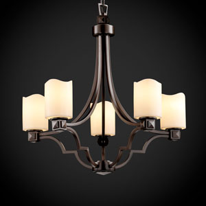 CandleAria Argyle Five-Light Dark Bronze Chandelier