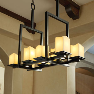 CandleAria Montana 8-Up and Three-Downlight Matte Black Bridge Chandelier