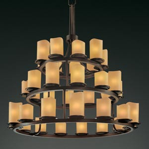 CandleAria Dakota Thirty-Six-Light Three-Tier Ring Chandelier