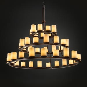 CandleAria Dakota Forty-Five-Light Three-Tier Ring Chandelier