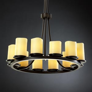 CandleAria Dakota Twelve-Light Tall Ring Chandelier