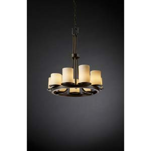 CandleAria Dakota Cream Dark Bronze Nine-Light Chandelier