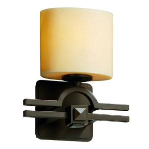 CandleAria Argyle Dark Bronze One-Light Oval Wall Sconce with Cream Shade