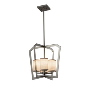 Textile - Aria Brushed Nickel Four-Light Chandelier with White Woven Fabric
