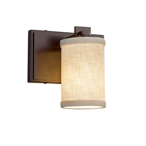Textile - Era Dark Bronze LED Wall Sconce with Cream Woven Fabric
