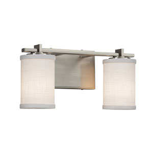 Textile - Era Brushed Nickel Two-Light Bath Vanity with White Woven Fabric