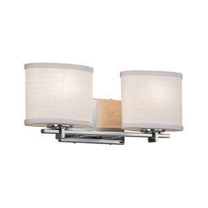 Textile - Era Polished Chrome Two-Light LED Bath Vanity with White Woven Fabric