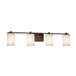 Textile - Era Dark Bronze Four-Light LED Bath Vanity with White Woven Fabric