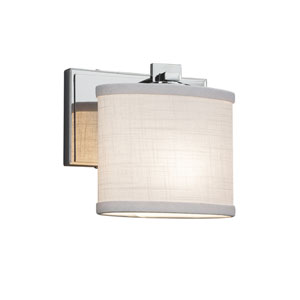 Textile - Era Polished Chrome One-Light Wall Sconce with White Woven Fabric