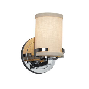Textile - Atlas Polished Chrome One-Light Wall Sconce with Cream Woven Fabric