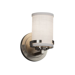 Textile - Atlas Brushed Nickel LED Wall Sconce with White Woven Fabric