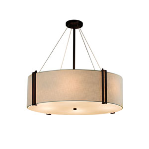 Textile - Reveal Dark Bronze LED Drum Pendant with Cream Woven Fabric
