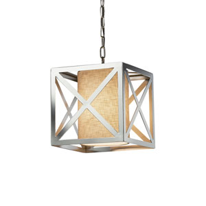 Textile - Hexa Polished Chrome LED Pendant with Cream Woven Fabric