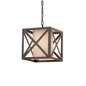 Textile - Hexa Dark Bronze One-Light Pendant with White Woven Fabric