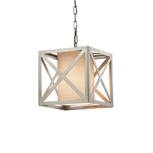 Textile - Hexa Brushed Nickel One-Light Pendant with White Woven Fabric