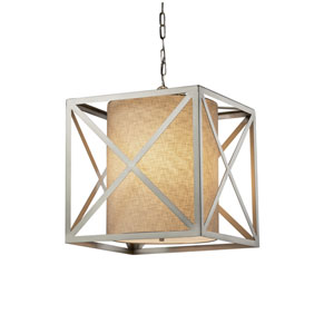 Textile - Hexa Brushed Nickel LED Pendant with Cream Woven Fabric