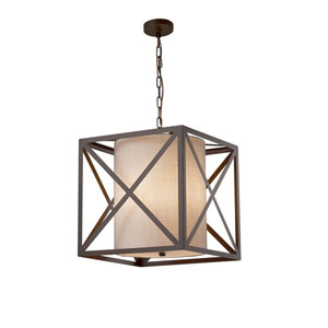 Textile - Hexa Dark Bronze 18-Inch LED Pendant with White Woven Fabric