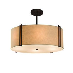 Textile  Dark Bronze 18.5-Inch LED Drum Pendant