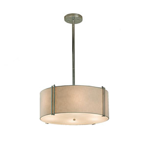 Textile  Polished Chrome 18.5-Inch LED Drum Pendant