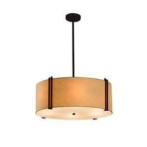 Textile Dark Bronze 24-Inch Six-Light Drum Pendant with Cream Shade