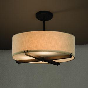 Textile  Dark Bronze 18-Inch LED Drum Pendant