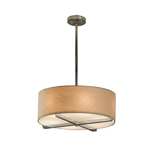 Textile  Polished Chrome 18-Inch LED Drum Pendant