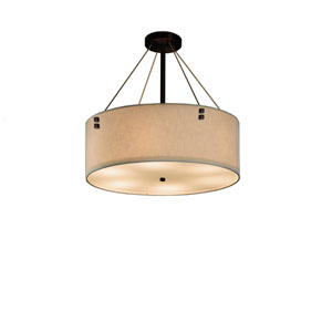 Textile  Dark Bronze 18-Inch LED Drum Pendant