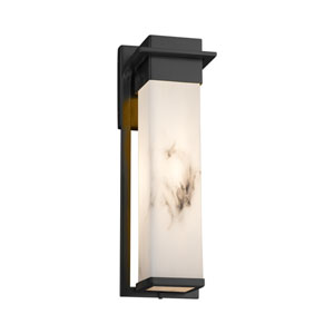 LumenAria - Pacific Matte Black 17-Inch LED Outdoor Wall Sconce with Cream Faux Alabaster Resin