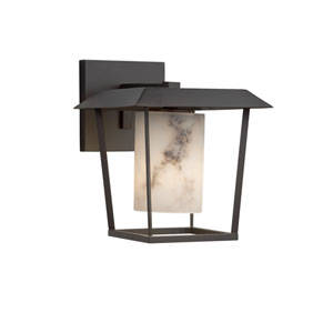 LumenAria - Patina Matte Black One-Light Outdoor Wall Sconce with Cream Faux Alabaster Resin