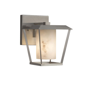 LumenAria - Patina Brushed Nickel LED Outdoor Wall Sconce with Cream Faux Alabaster Resin