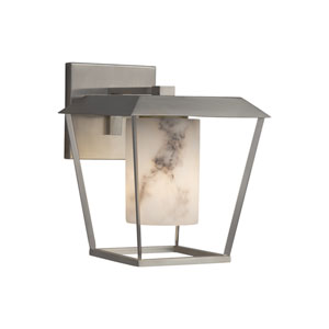 LumenAria - Patina Brushed Nickel 12-Inch LED Outdoor Wall Sconce with Cream Faux Alabaster Resin