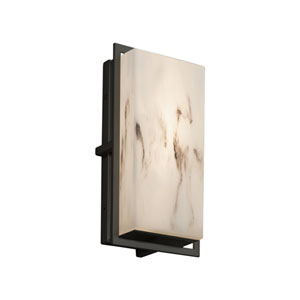 LumenAria - Avalon Matte Black LED Outdoor Wall Sconce with Cream Faux Alabaster Resin
