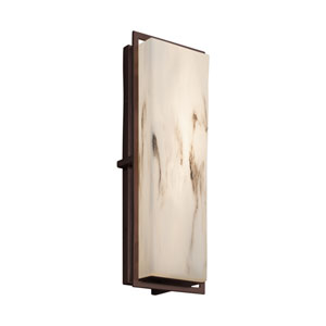 LumenAria - Avalon Dark Bronze 18-Inch LED Outdoor Wall Sconce with Cream Faux Alabaster Resin